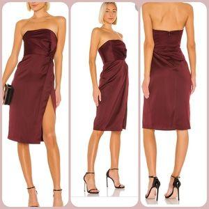 New NBD Taliyah Midi Dress burgundy strapless